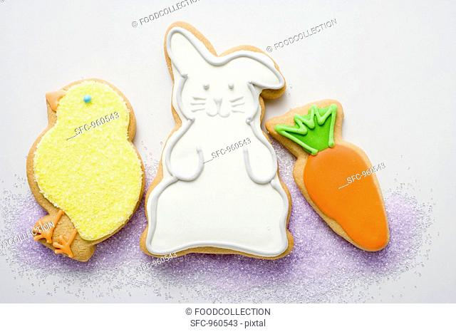 Three different Easter biscuits chick, Easter Bunny, carrot