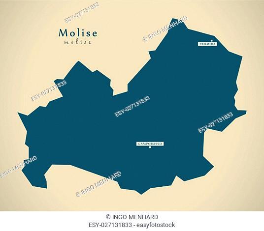 Modern Map - Molise IT Italy
