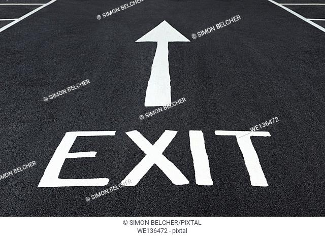 Exit Sign Painted on a Road