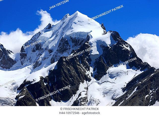 Alps, view, Fuorcla Surlej, mountain, mountains, mountain massif, Engadin, Engadine, rock, cliff, mountains, summit, peak, glacier, Graubünden, Grisons, sky