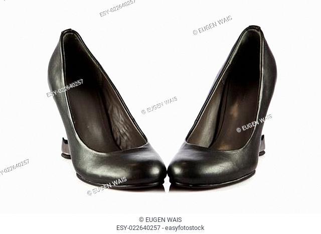 Elegant high heel shoes on white background. Black footwear