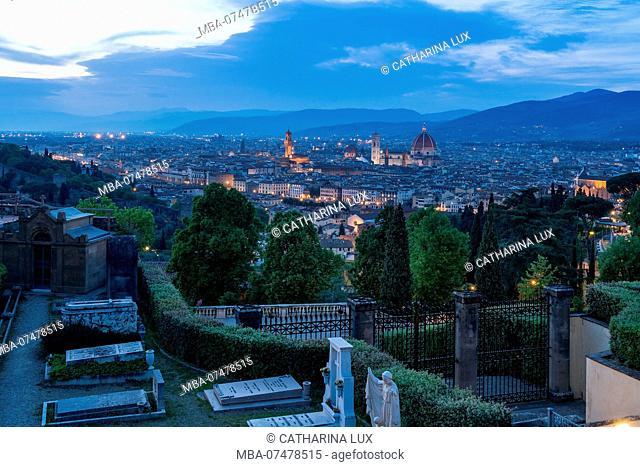 Florence, San Miniato al Monte, Cemetery, distant view Old Town