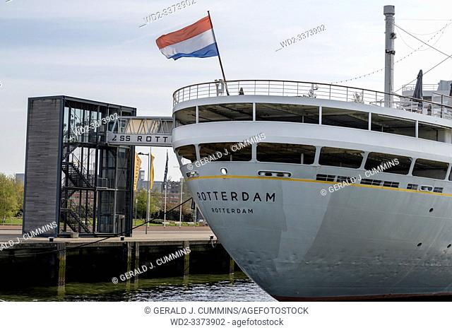 Europe, Netherlands, Rotterdam, The SS Rotterdam as she is today, permanently moored as a hotel and museum