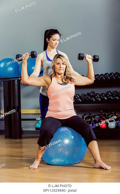 An attractive middle-aged women working out using free weights on a balance ball at the gym with her personal trainer giving assistance; Spruce Grove, Alberta