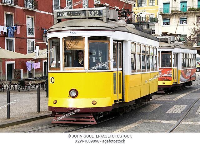 Trams, Alfama, Lisbon, Portugal