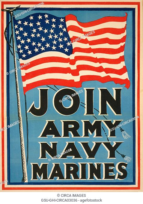 American Flag, Join Army, Navy, Marines, World War I Recruitment Poster, USA, 1917