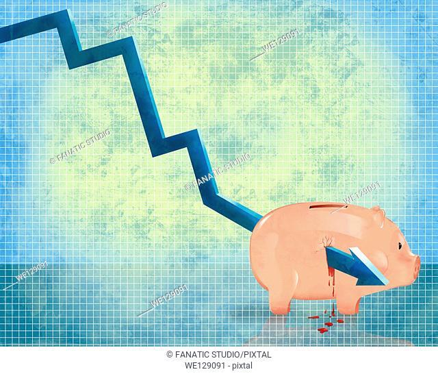 Illustrative image of arrow passing through piggybank representing investment loss