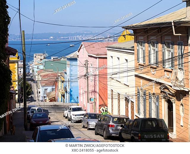 Valparaiso on the coast of the pacific. Historic town center,famous for the colorfull houses and its wall paintings, is listed as UNESCO world heritage