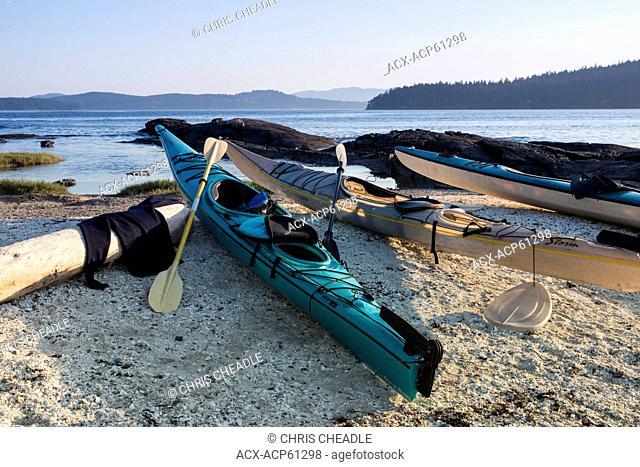 Kayaks on Russel Island, near Saltspring Island, British Columbia, Canada