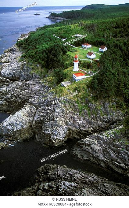 Aerial of Langara Lighthouse, Queen Charlotte Islands, British Columbia, Canada