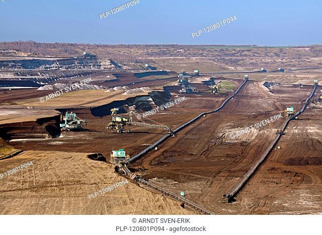 Brown coal / lignite being extracted by huge bucket-wheel excavators at open-pit mine, Saxony-Anhalt, Germany
