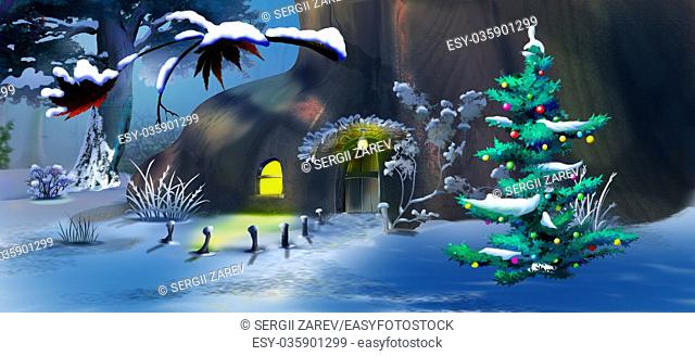 Christmas Tree near a Fairy Tale House in a Winter Forest . Handmade illustration in a classic cartoon style