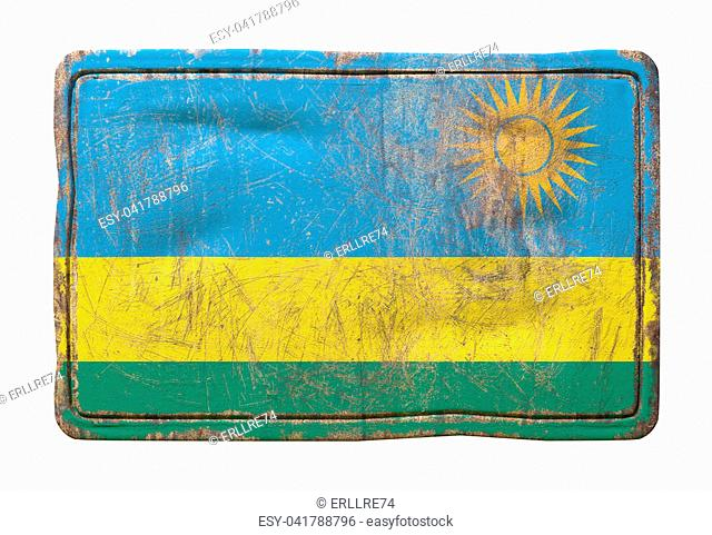 3d rendering of a Republic of Rwanda flag over a rusty metallic plate. Isolated on white background