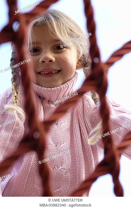 Child, girl, playground, Klettergerüst, ropes, plays, does gymnastics, cheerfully, activity, 6-10 years, fun, game, adventure-playground, playground equipment