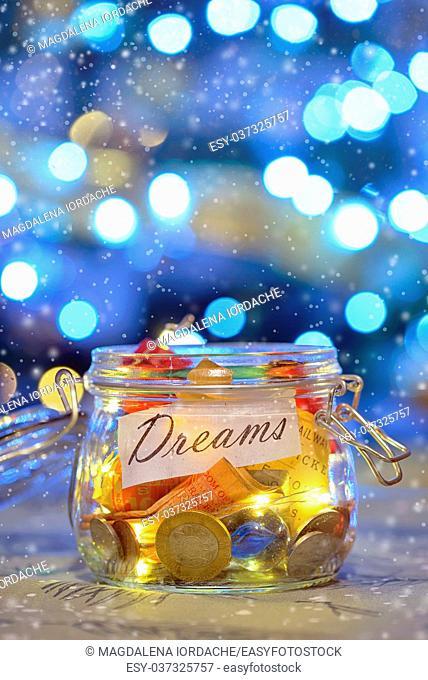 Big dreams saving money jars and lights