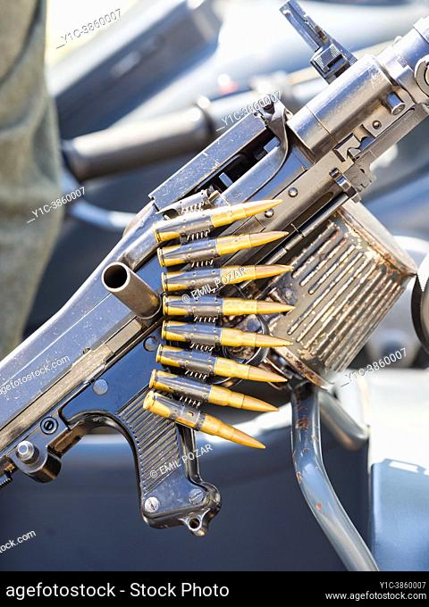 German Army WWII Mauser MG42 machine-gun live-ammo detail, Pivka Slovenia 2018, editorial use only