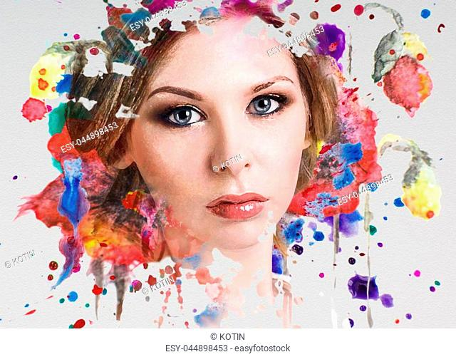 Portrait of young woman and colorful paint blots. Over gray background