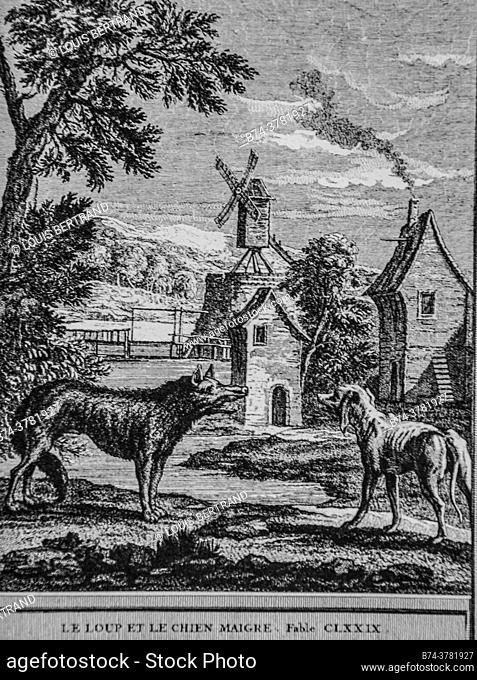 the wolf and the skinny dog, fables of the fountain, publisher talan, dier 1904, drawing by j. b. oudry