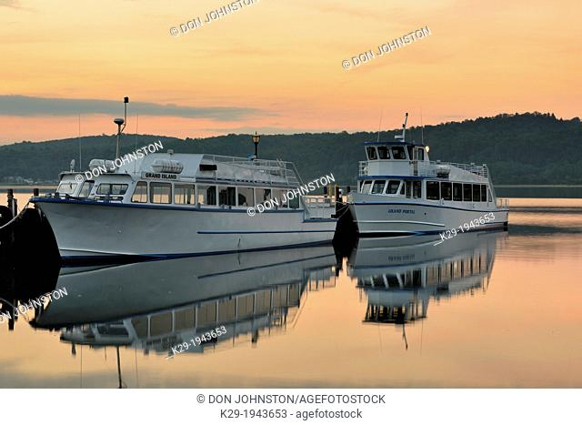 Cruise ships docked in Munising Bay, Munising, Michigan, USA
