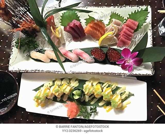 Plate of Sushi and Sashimi in Restaurant, Zen, Boston, Massachuisetts, USA