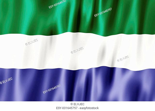 Flag Of The Republic of Sierra Leone Blowing in Wind