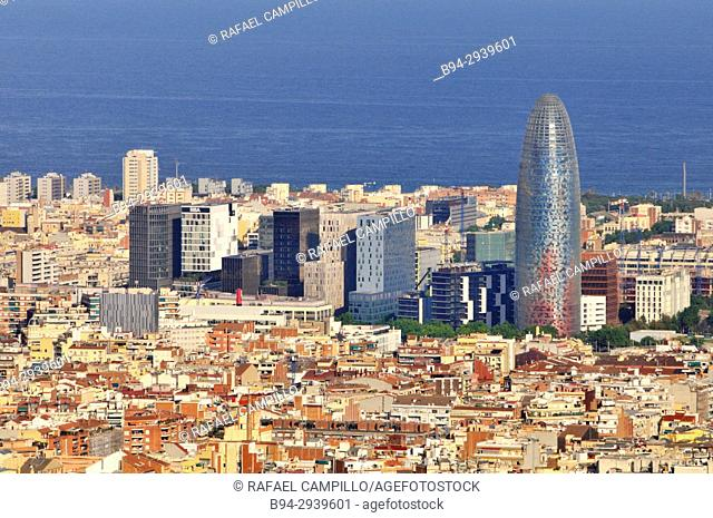 General view of Barcelona from Turó del Carmel with the Agbar tower. Catalonia. Spain