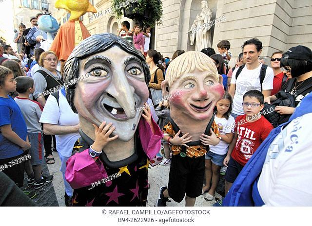 La Merce Festival, Bigheads, Plaça de Sant Jaume Square, Barcelona, Catalonia, Spain