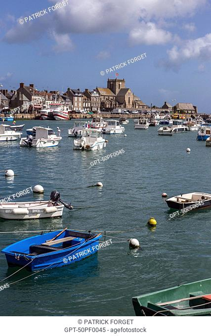 FISHING BOAT IN THE PORT OF BARFLEUR, LABELLED ONE OF THE MOST BEAUTIFUL VILLAGES OF FRANCE, MANCHE (50), FRANCE