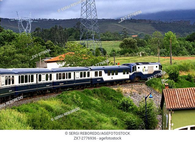 Outside of Transcantabrico Gran Lujo luxury train travellong across northern Spain, Europe. Journey between Unquera and Cabezon de la Sal