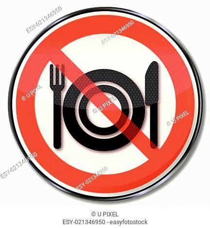 Verbotsschild für Essen am Arbeitsplatz