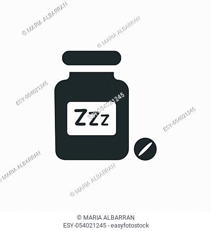 Sleeping pills icon. Isolated image. Flat pharmacy and medicine vector illustration