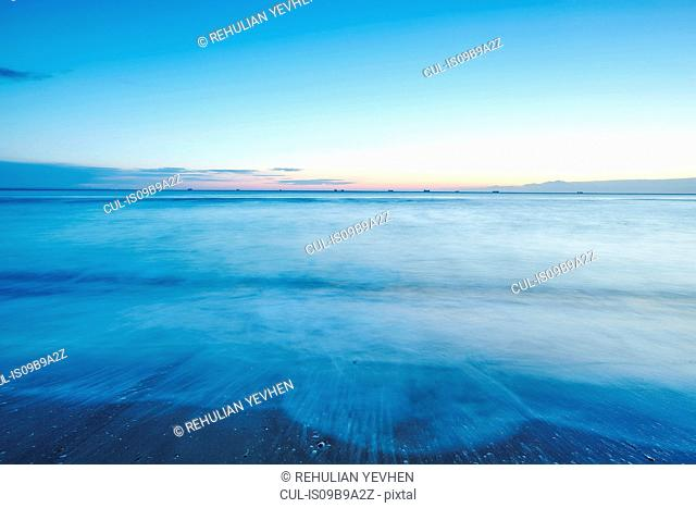 Long exposure of sunset over sea, Odessa, Odessa Oblast, Ukraine, Europe
