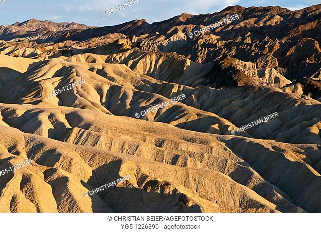 Rock formations ob Zabriski Point in the evening light, Death Valley National Park, California, USA