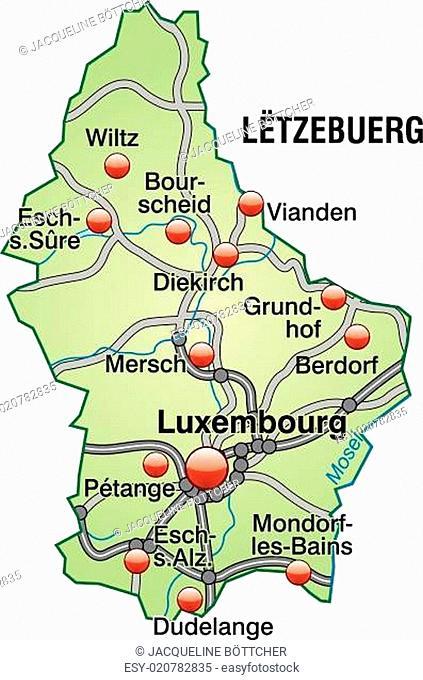 Karte von Luxemburg mit Verkehrsnetz in Pastellgrün