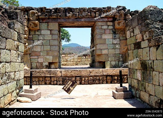 Ruins of temple on the top of pyramid in Copan, Honduras