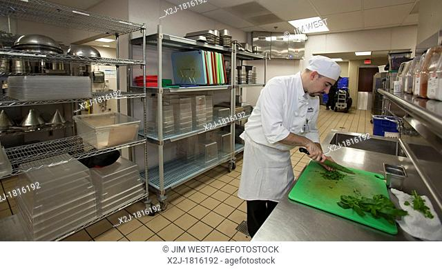 West Bloomfield, Michigan - Chef Jay Lovell cuts up basil in the kitchen of Henry Ford West Bloomfield Hospital  Basil and other produce used in meals for...