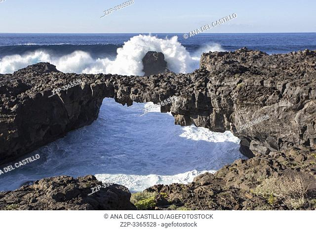 Natural Stone Arch Charco Manso, El Hierro, Canary Islands Spain