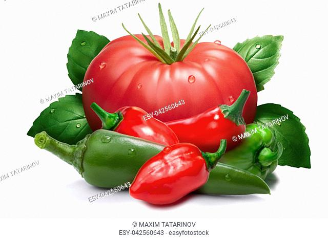 Heirloom tomato, red and green habanero peppers, chili, basil. Ingredients for hot sauce, ketchup. Clipping paths, shadow separated