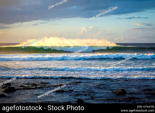 Pacific ocean at sunset on Easter Island, Chile