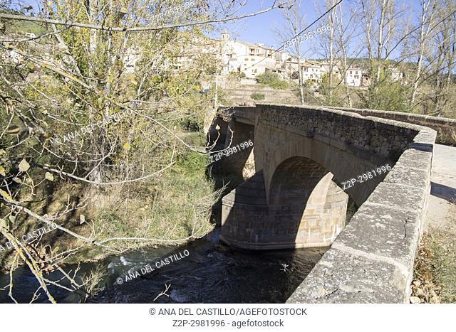 Autumn in Olba Gudar mountains Teruel Aragon Spain Charles bridge