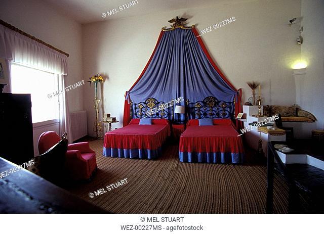 Bedroom in Dali's house in Port Lligat, Costa Brava, Spain