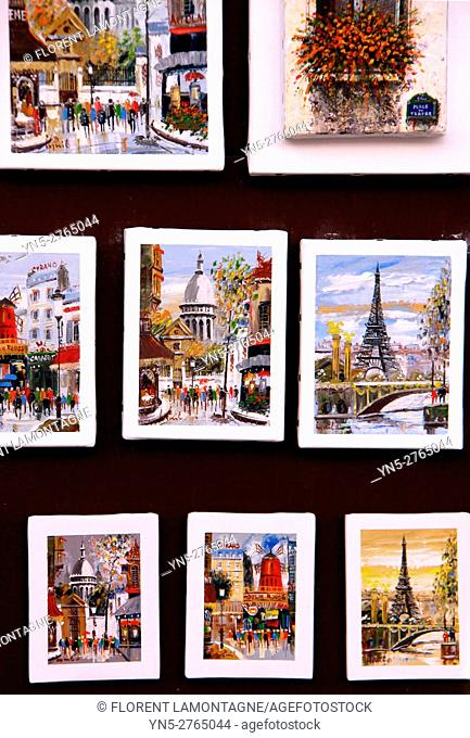 Paintings of Montmartre, Sacré Cœur, Paris, Ile de France