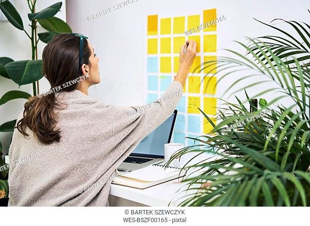 Young woman with laptop on desk working with adhesive notes on the wall