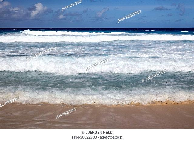 Grand Anse beach with strong currents on East Coast, La Digue, Seychelles, Indian Ocean, Africa
