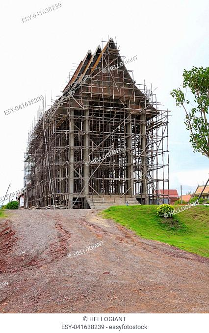 The church is under construction, a temple, Samut Sakhon, Thailand