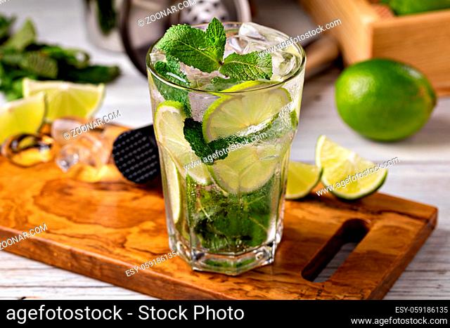 Fresh Mojito cocktail with lime, mint and ice