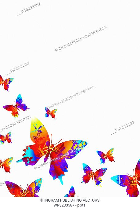 Collection of bright coloured butterflys on a white background