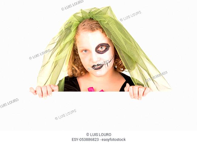 Girl with Halloween costume over a white board