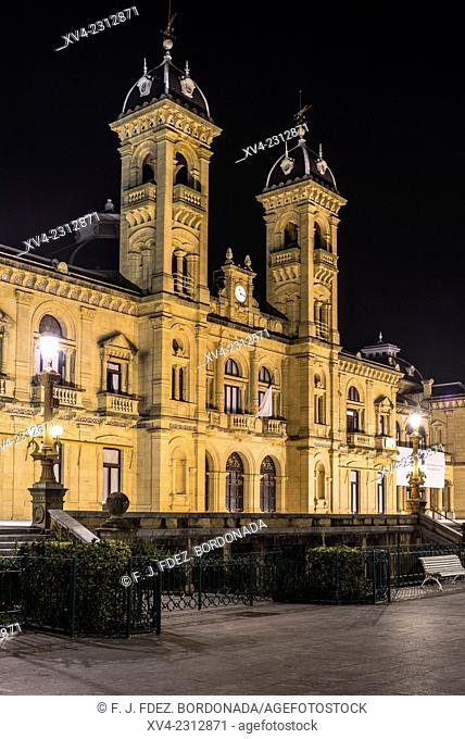City Hall. Old town of San Sebastián by night. Donostia, Basque Country, Spain
