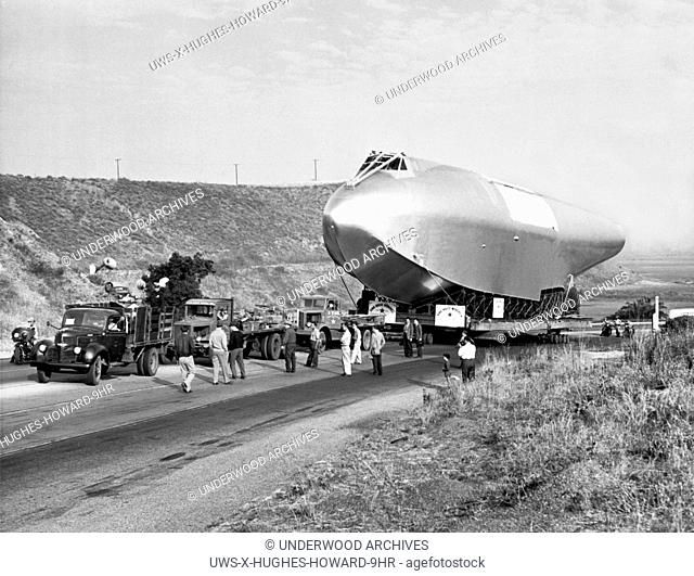 Culver City, California: June 16, 1946.The 220 foot long hull of Howard Hughes' flying boat come to a halt on its 28 mile trip to Long Beach